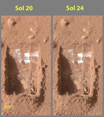 Hielo de agua en Marte